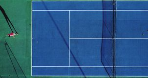 Tennis players on speed surface. Aerial view Stock Photo