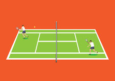 Tennis Players in Tennis Court Vector Illustration Royalty Free Stock Photo