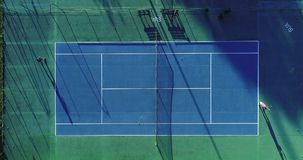 Tennis  players. Tennis players on speed surface, aerial view Stock Photos