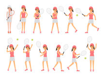 Tennis players, tennis sport athletes in actions. Female tennis sport athletes, woman players playing, training and practicing with tennis racket. Flat design Stock Photos