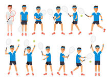 Tennis players, tennis sport athletes in actions Royalty Free Stock Photography