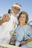 Tennis Players With Trophy Taking Self-Portrait Royalty Free Stock Photo