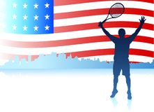 Tennis Players with United States Flag Background Royalty Free Stock Photo