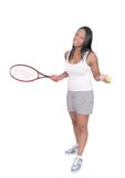 Tennis playing woman Stock Photography