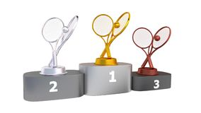Tennis Podium with Gold Silver and Bronze Trophy in Infinite Rotation stock video footage