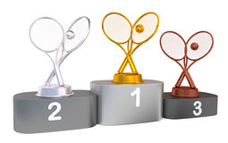 Tennis Podium with Gold Silver and Bronze Trophy Royalty Free Stock Image