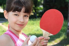 Tennis. Portrait of a young girl with a tennis racket Royalty Free Stock Images