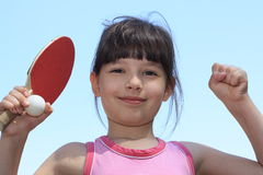 Tennis. Portrait of a young girl with a tennis racket Royalty Free Stock Image