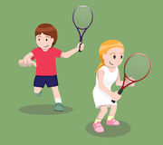 Tennis Pose Cartoon Vector Illustration 2 Stock Photo