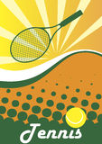 Tennis poster.Green tennis racket and ball.Abstract green backgro Royalty Free Stock Image