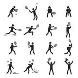 Tennis postures male icon set Stock Photography