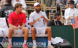 Tennis Power Horse World Team Cup 2012. The USA's Ryan Harrison and James Blake rest during a doubles match on day 1 of this tournament which lasts 6 days Stock Images