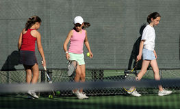 Tennis practice. 3 girls at tennis practice Stock Photography