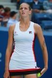 Tennis professionista Karolina Pliskova della repubblica Ceca nell'azione durante la sua partita rotonda quattro all'US Open 2016 immagine stock