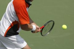 Tennis-Rückhandschlag Stockbilder