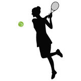 Tennis rack ball green Black silhouette of sportswoman isolated on white background vector illustration Royalty Free Stock Photography
