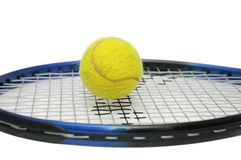 Tennis racket. And ball isolated on white Royalty Free Stock Photos
