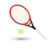 A tennis racket. And ball over white background royalty free illustration