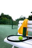 Tennis racket. With court background Royalty Free Stock Photography