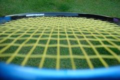 Tennis racket. In close Stock Image