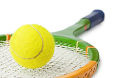 Tennis racket and ball. Isolated on white background Stock Photos