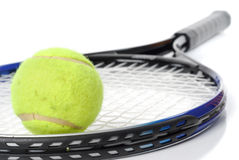 Tennis racket and ball. Studio isolated on white background Stock Photography