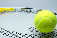 A tennis racket and ball Royalty Free Stock Photography