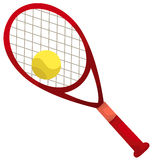 Tennis racket and ball. Illustration of isolated a tennis racket and ball on white stock illustration