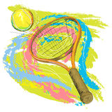 Tennis racket and ball. Hand drawn illustration of tennis racket and ball, created as very artistic painterly style for your design vector illustration