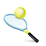 Tennis racket with ball. Isolated on white stock illustration