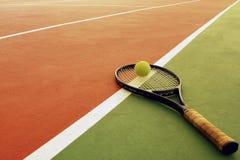 Tennis racket and ball stock image