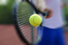 Tennis racket and ball. Tennis racket and tennis yellow ball Stock Photo