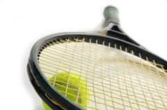Tennis racket and ball. Tennis equipment stock image
