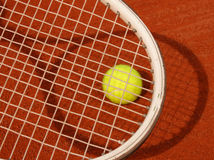 Tennis racket and ball. Racket and ball Royalty Free Stock Photo