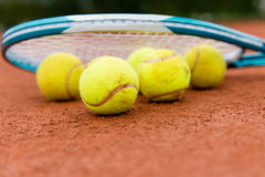 Tennis racket with ball Royalty Free Stock Images