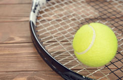 Tennis racket and ball Royalty Free Stock Photos
