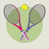 Tennis racket and ball. Color vector picture Stock Photos