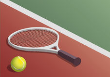 TENNIS RACKET AND BALL. In the court floor stock illustration