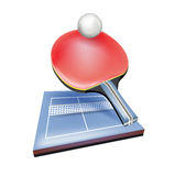 Tennis racket with ball and field Stock Images