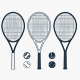 Tennis racket and ball, vector. Tennis racket and ball, gear for the game, Equipment for Competition. vector Royalty Free Stock Image
