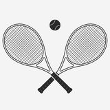 Tennis racket and ball, vector. Tennis racket and ball, gear for the game, Equipment for Competition. vector Stock Photo