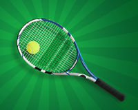 Tennis racket and ball on green. Tennis racket and ball on a green radial background, shot directly above with space for copy Stock Images