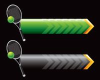Tennis racket and ball on green and black arrows Royalty Free Stock Image
