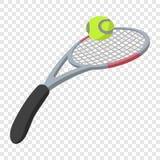 Tennis racket and ball illustration. Cartoon symbols on transparent background Royalty Free Stock Photo