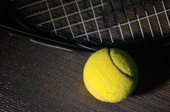 Tennis racket and ball. Isolated Royalty Free Stock Images