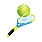 Tennis racket with ball isolated. On white Royalty Free Stock Photo