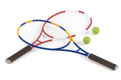 Tennis racket and ball isolated Stock Photos