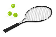 Tennis racket and ball isolated Stock Photography