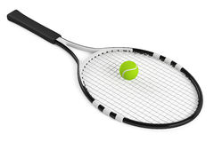 Tennis racket and ball isolated Royalty Free Stock Image