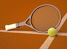 Tennis racket and ball are located against the background of soil court. Stock Photos